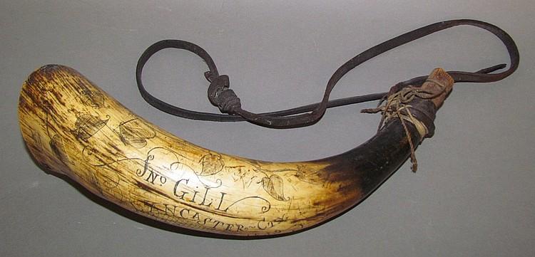 "Powder horn, engraved ""Jno Gill, Lancaster City, Penna. 1839"""
