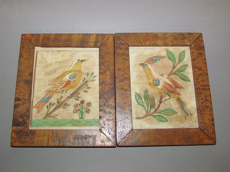 2 Fraktur bird drawings mounted in early frames