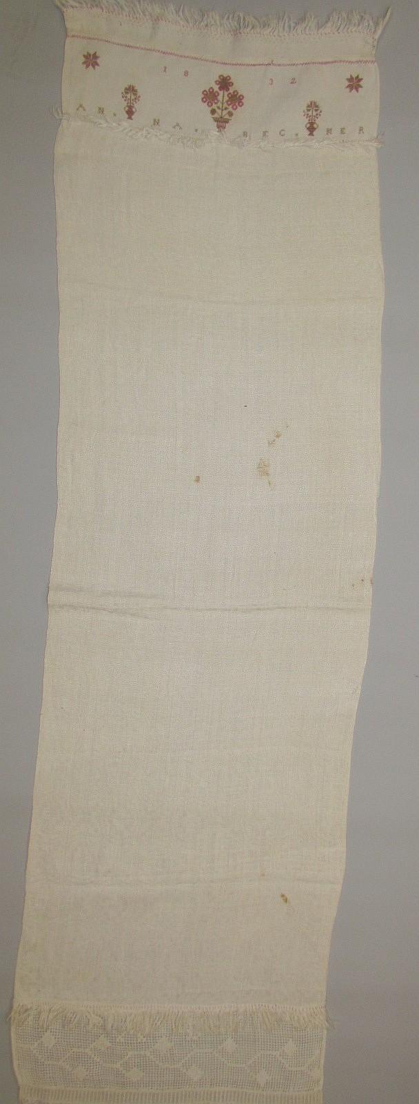 Decorated homespun linen towel