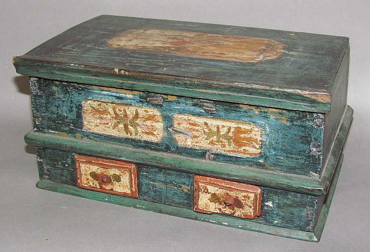 Miniature paint-decorated chest with drawers