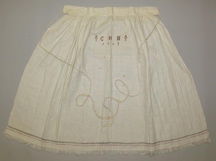 Extremely rare homespun linen wedding apron