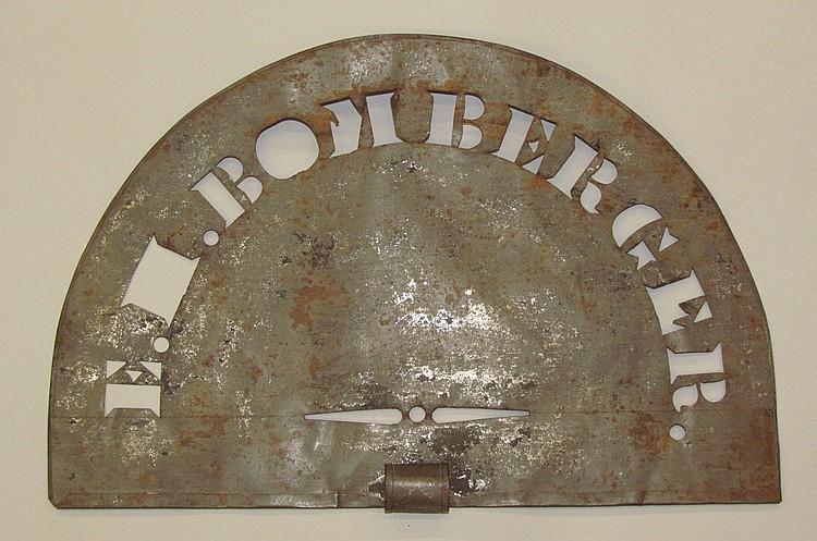 "Tin barrel or grain bag stencil, ""EH BOMBERGER"" semi-circular"