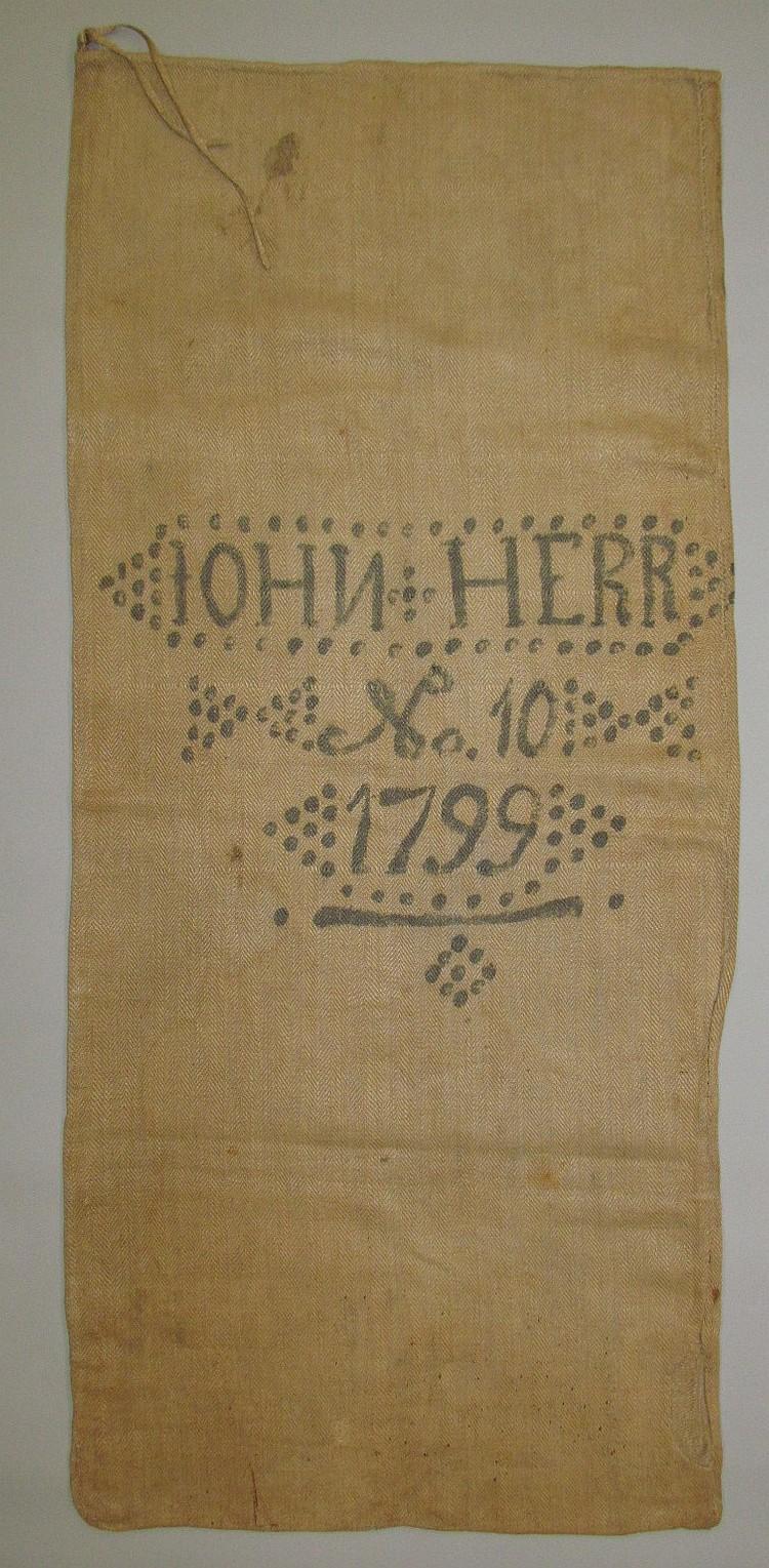 Homespun linen grain bag