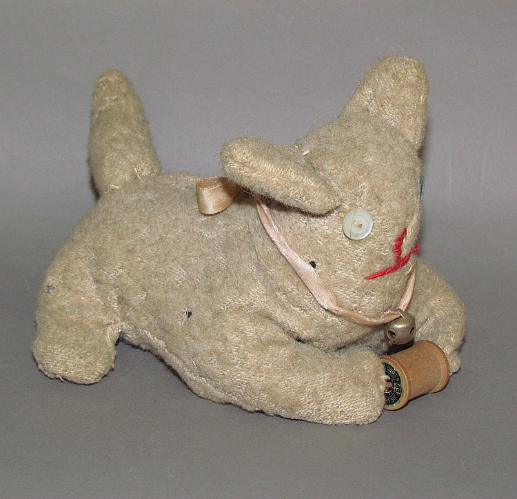 Old Order Mennonite fabric cat with spool