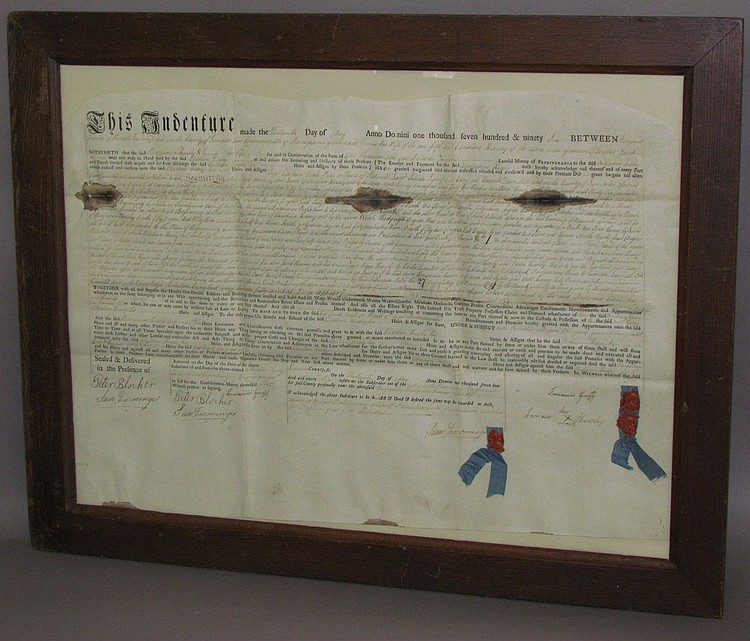 Parchment deed dated 1796 from Benjamin & Veronica Hershey