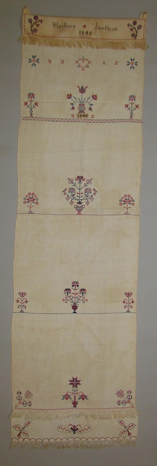 Decorated homespun hand towel, Barbara Landisen 1846, BL EL