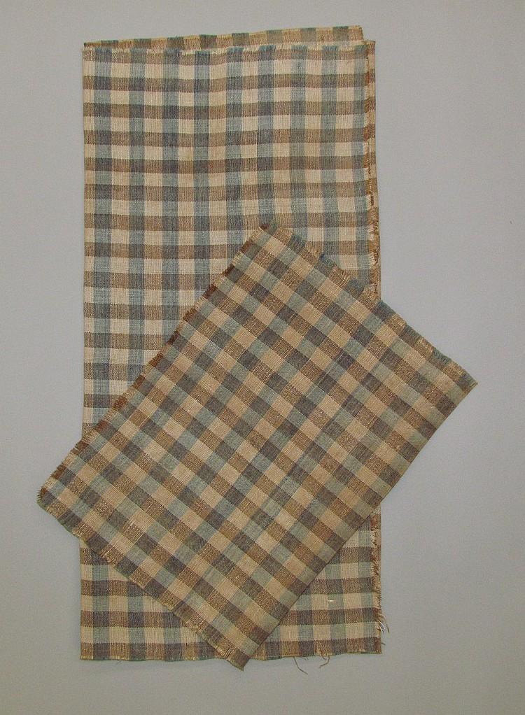 2 pieces of 3-color homespun linen