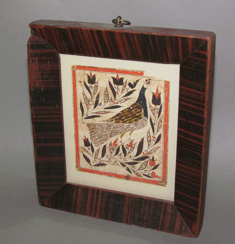 Rare Fraktur bird drawing in a paint decorated frame