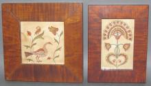 2 framed folk art ink & watercolor Fraktur drawings by Pamela Godillot