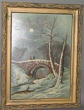 American folk winter scene painting
