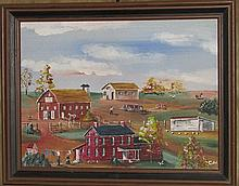 Folk art farm scene