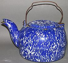 Blue agate tea kettle