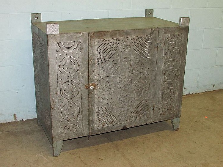 Punched tin pie safe