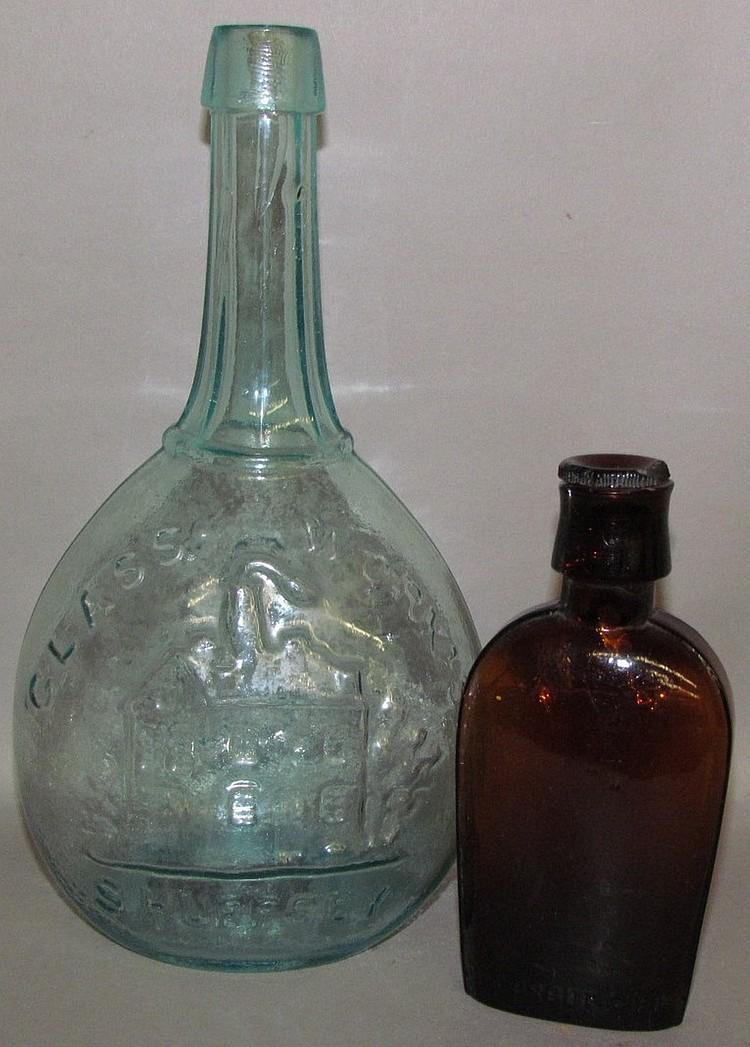 Lot 133: 2 glass flasks