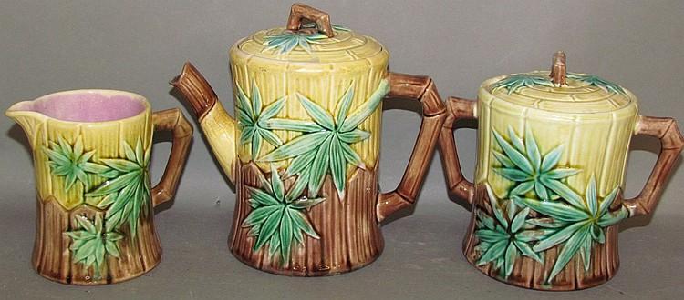 3 piece Etruscan Bamboo Majolica tea service