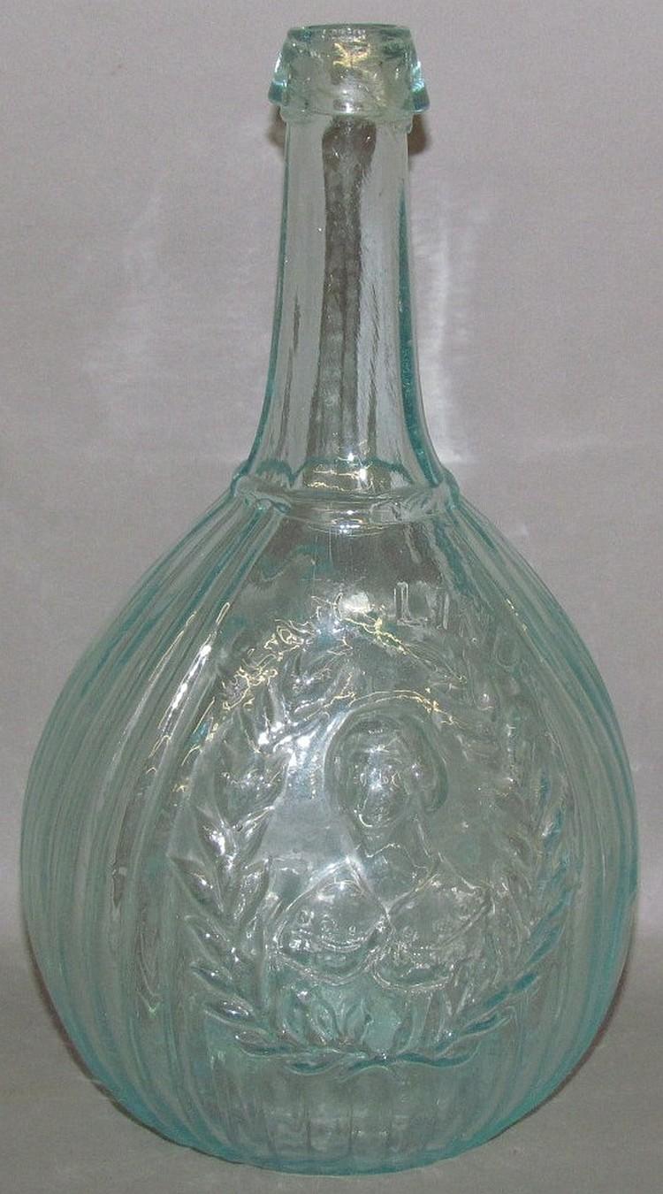 Jenny Lind 1 quart aquamarine calabash portrait flask