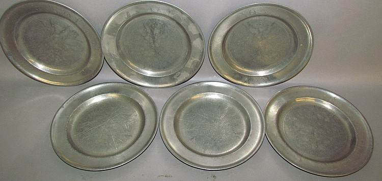 Set of 6 Stauffer pewter luncheon plates