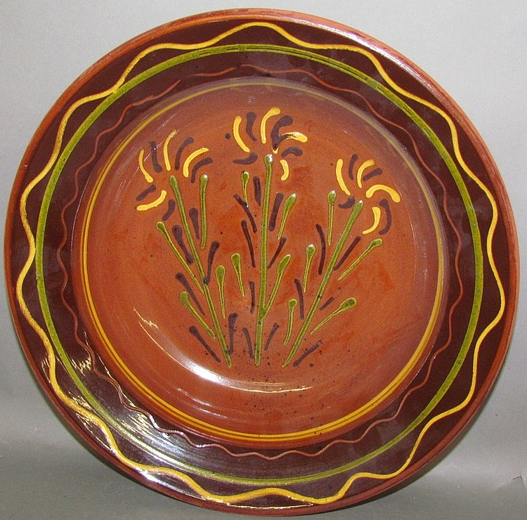 Moravian influence reproduction redware bowl by Breininger Pottery