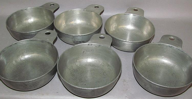 Set of 6 Stauffer pewter porringers