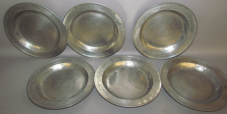 Set of 6 Stauffer pewter plates