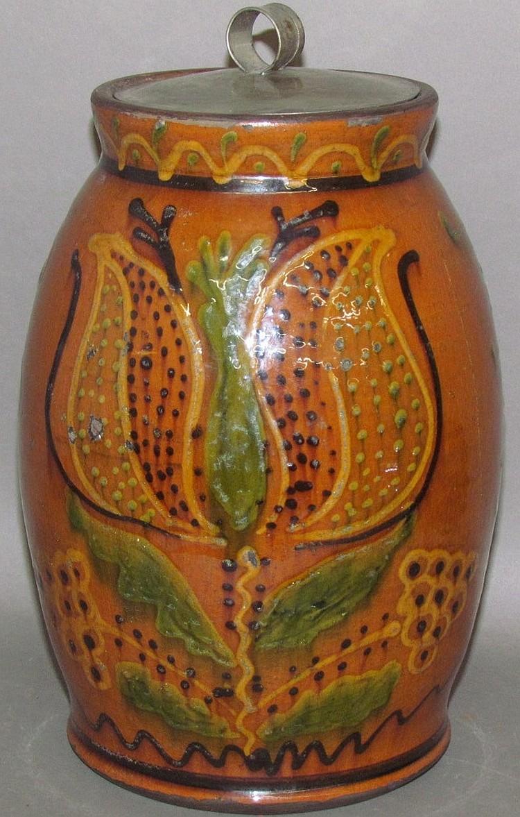 Lot 4: Greg Shooner bulbous form redware storage jar