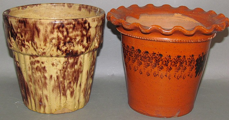 Redware & yellow ware flower pots