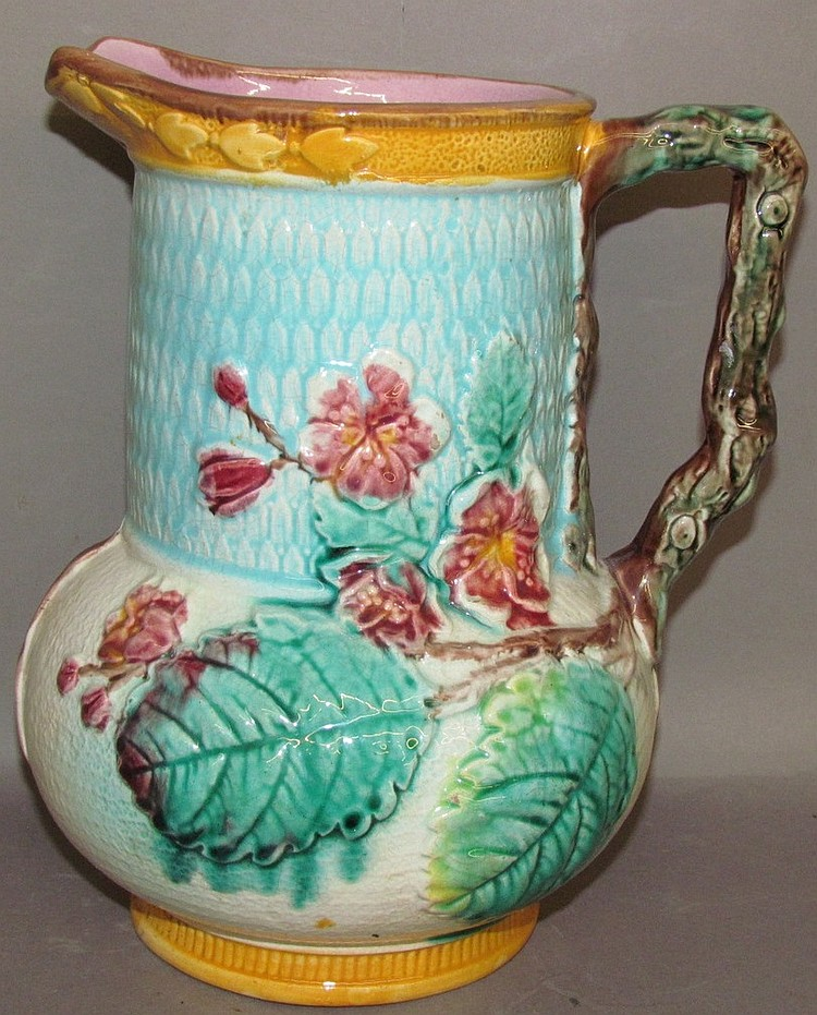 Lot 129: English Majolica Begonia plant pitcher