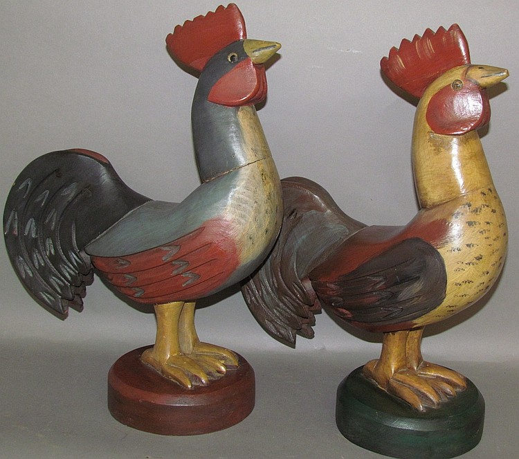 2 unsigned carved & paint decorated roosters