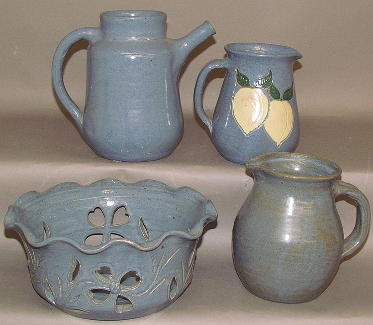 4 pieces of blue glazed Cleater & Billie Meaders earthenware