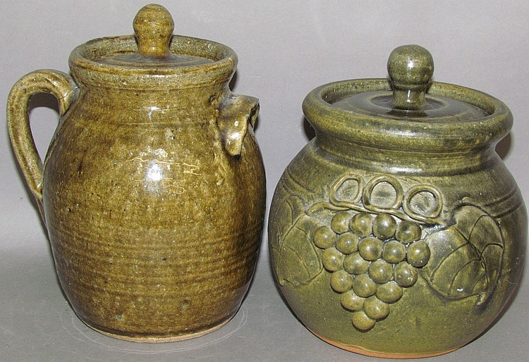 2 John Meaders green glazed redware pots