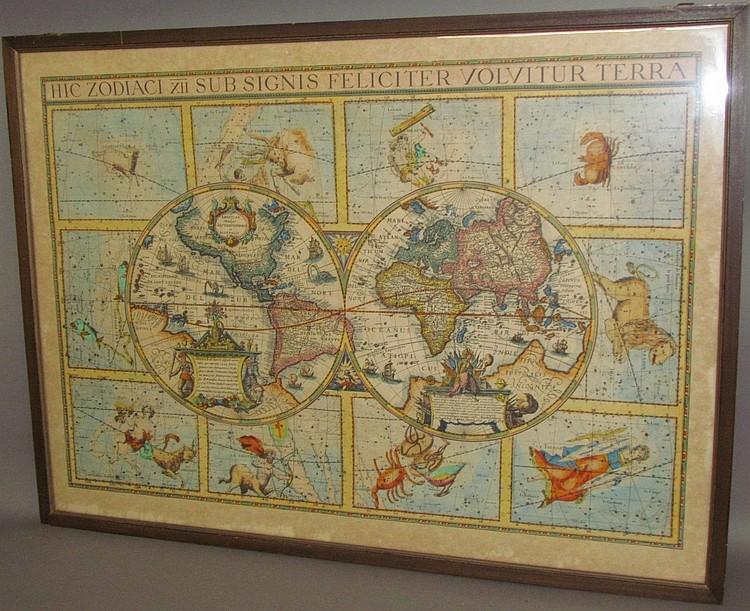 Lot 191: Cartographical map with Zodiac signs