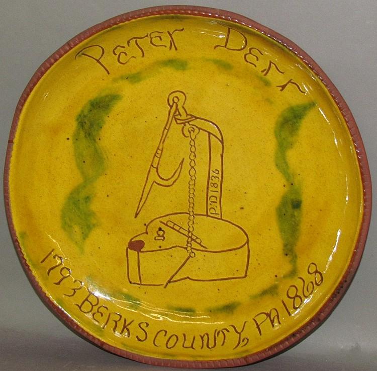 Breininger sgraffito plate with Peter Derr design