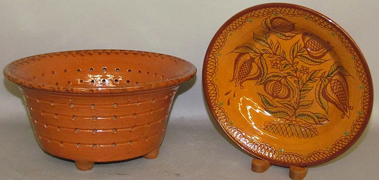 2 pieces of Foltz reproduction redware
