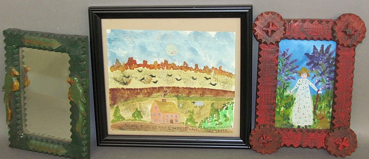 3 pieces of Strawser folk art