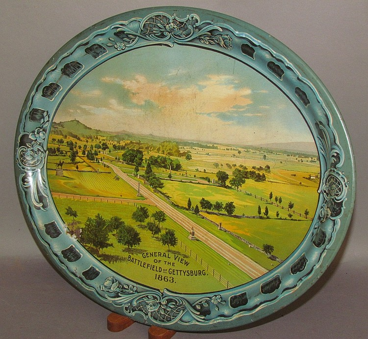 Lot 109: Lithographed oval serving tray of Gettysburg Battlefield