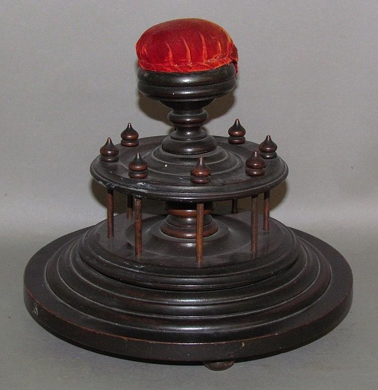 Victorian era revolving walnut sewing stand