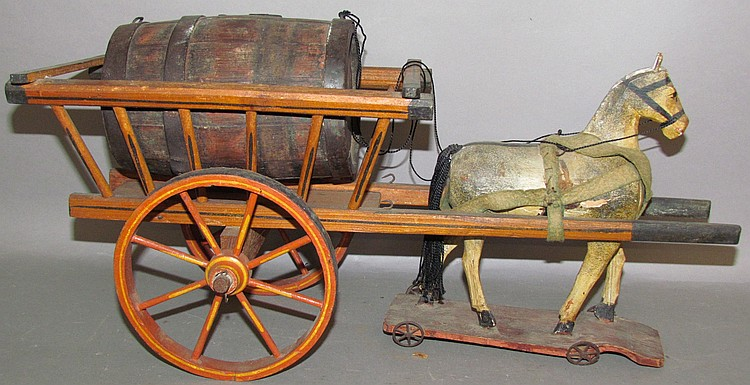 Lot 39: Vintage horse & beer cart toy