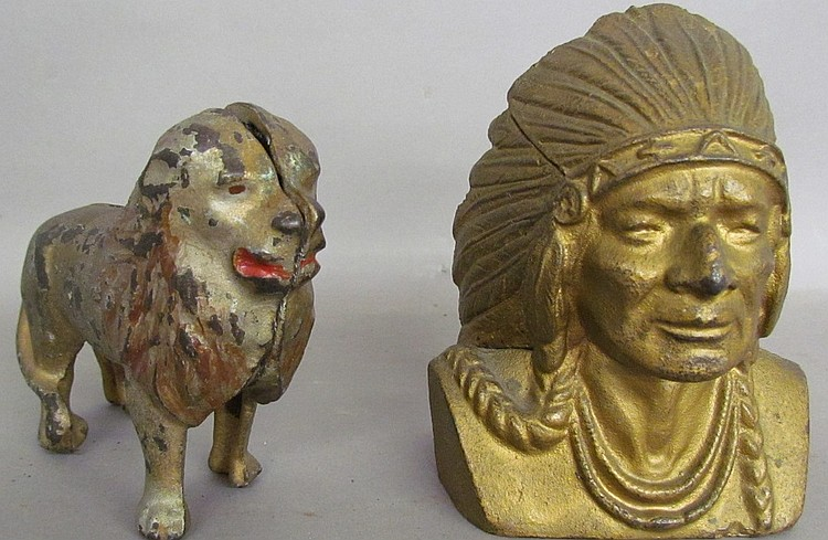 2 cast iron figural penny banks