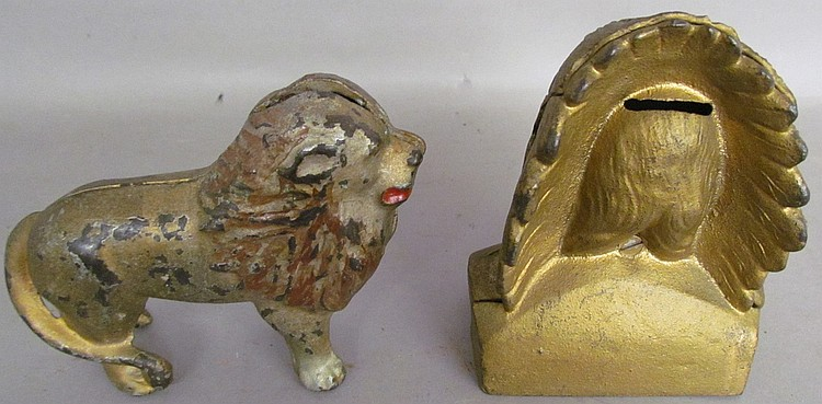 Lot 37: 2 cast iron figural penny banks