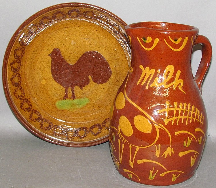 2 pieces of C. Ned Foltz redware pottery