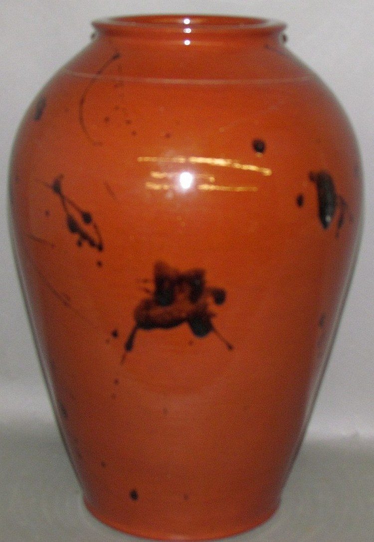 Unusually large bulbous redware base by Breininger
