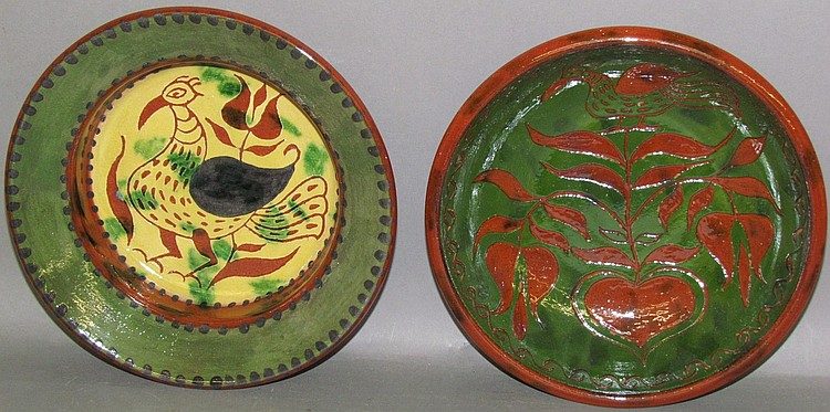 2 reproduction Seagraves redware plates
