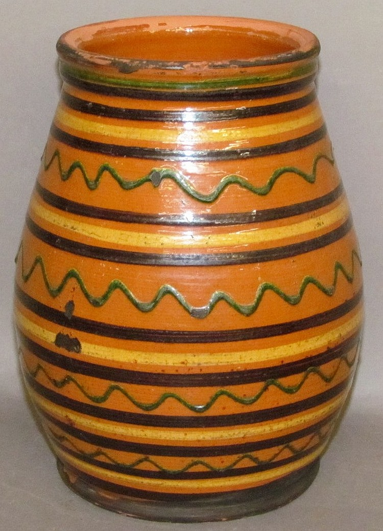 Lot 67: Greg Shooner slip decorated redware jar