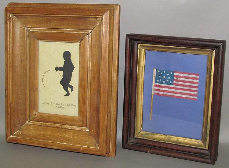 Framed sillhouette & small flag