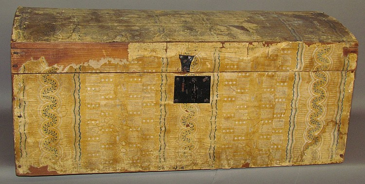 Lot 174: Wallpaper covered pine dome top trunk