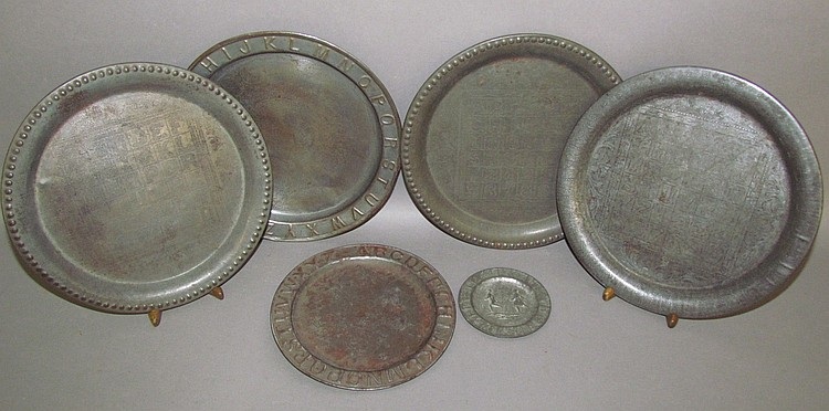 Lot 172: 6 pressed tin ABC plates