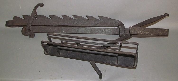 2 wrought iron hearth cooking tools