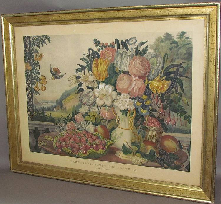 """Currier & Ives """"Landscape, Fruit & Flowers"""""""