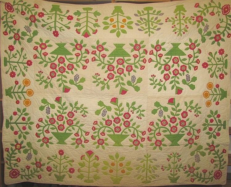 Floral basket appliqued quilt