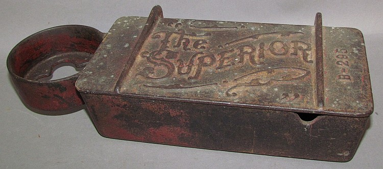 "Cast iron ""The Superior"" implement tool box"